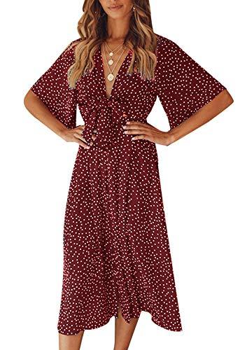 Yidarton Sommerkleid Damen V-Ausschnitt Polka Dot Midikleid Knielänge Vintage Boho Kurzarm Strandkleider (Rot, XL)