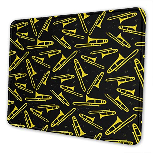 Mouse Pad Black and Yellow Trombone Gaming Mousepad with Stitched Edges Non-Slip Rubber Base for Computers Laptop Office & Home
