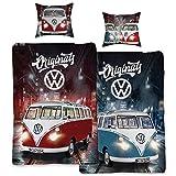 VW Volkswagen Bulli Bettwäsche Originals Rot / Blau 135 cm x 200 cm + 80 cm x 80 cm VW-Bus T1 100%...