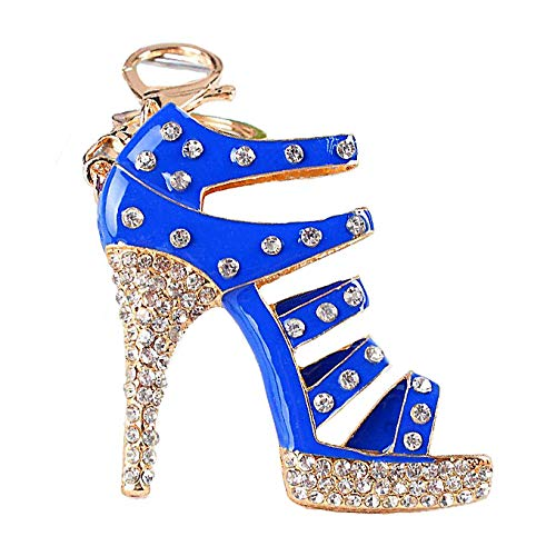 JewelBeauty Large Size Crystal High Heel Shoe Keychain Ladies Fashion Stiletto Shoe Handbag Charm Rhinestone Purse Charm Keyring Car Bling Keychain for Women (Blue)