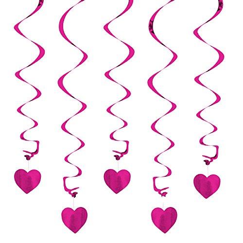 Oblique Unique Deckenhänger Spiral Girlanden mit Herzen - Farbe wählbar (Pink)