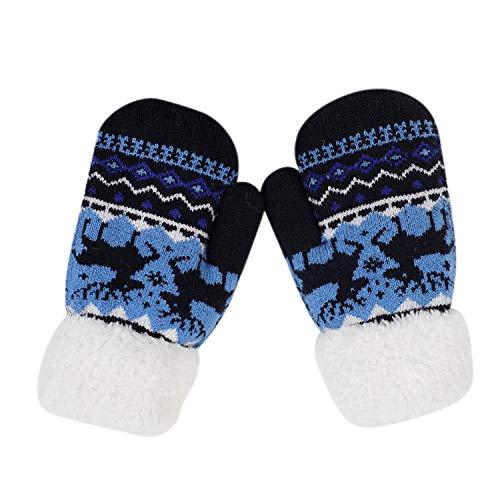 Handschoenen kinderen rendieren Kerstmis winterhandschoenen pluche voering gebreide handschoenen outdoor sport wanten zacht wollen handschoenen Kerstmis cadeau voor meisjes jongens Eén maat donkerroze