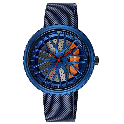 Kreative Armbanduhr wasserdichte Militärarmee Edelstahluhr Sportuhren 23.3cm blau (mesh)