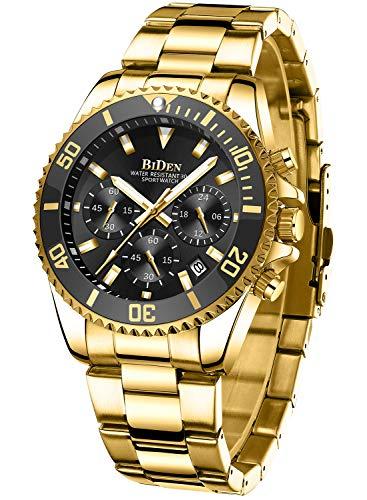Relojes Hombre Relojes Grandes de Pulsera Militares Cronografo Diseñador Luminosos Impermeable Reloj Hombre de Acero Inoxidable Dorado Analogicos Fecha