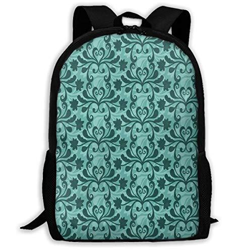 Mochila Free Vector Teal Western Flourish Pattern Zipper School Bookbag Daypack Travel Mochila Gym Bag