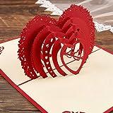 Sethexy 3D San Valentino Biglietti d'auguri Invito a nozze Apparire Amore Romantico Confessione Anniversario Regalo di compleanno per Girlfriend Fidanzato Moglie Marito Amici Famiglia