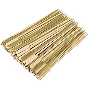 Yiapinn 21cm Natural Bamboo Skewers 100 Pcs BBQ Skewers for Grill Party Sandwich Cocktail Paddle Sticks:Cnsrd