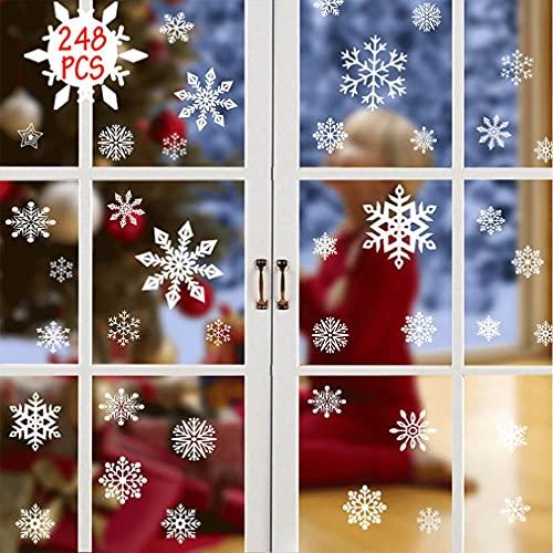 Pegatina Copo De Nieve De Navidad Calcomanías De Ventana De Copo De Nieve Pegatinas de Navidad para Ventanas 248pcs Navidad la Decoración del Hogar de Chrismas Adhesivos Ventana PVC