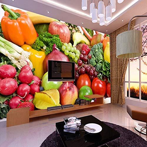 Mural de fotos de frutas y verduras frescas, plátano, piña, papel de tamaño personalizado para pared, sala de estar, papel tapiz 3D