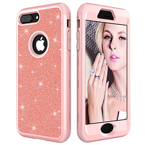 iPhone 8 Plus Case, iPhone 7 Plus Case, NOKEA Bling Bling Hybrid Heavy Duty Shockproof Full-Body Protective Case Three Layer Impact Protection for iPhone 8 Plus/7Plus (Rose Gold)