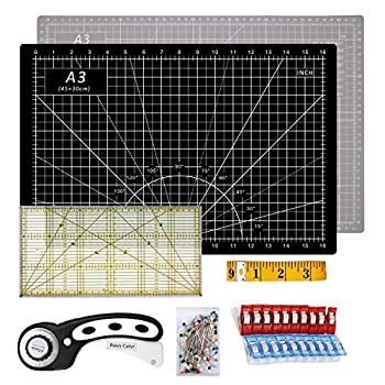 O woda Rotary Cutter Quilting Kit A3 Cutting Mat + 45mm Rotary Cutter + Tape Measure + Patchwork Ruler + Patchwork Clip  Set of 20 + 50 Pcs Pins  Black+Gray