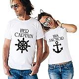 Il Capitano e La Sua Ancora Couple Coppia T-Shirt,Maglietta a Maniche Corte in Cotone,Idea Regalo...