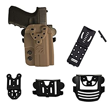 Ultimate Arms Gear OWB Kydex Modular Multi-Fit Holster w/ Belt Paddle Drop Offset and Push Button Belt Locking Mount FDE Compatible with Kimber 1911 Mil-Spec Colt Remington Springfield Pistols