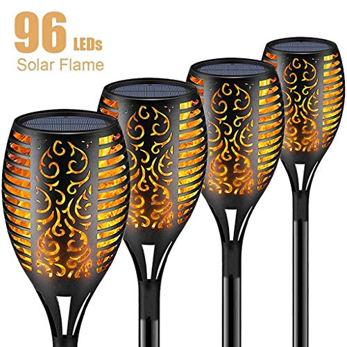 Why Choose (4 Pack) Solar Flame Flickering Lamp Torch, Backyard Decor Lights with Vivid Dancing Flickering Flames, Easy to Install, 96 LED Waterproof Outdoor