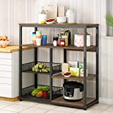 Kitchen Storage Baker's Rack with Table 4-Tier Vintage Utility Storage Shelf with 2 Hollow Fruits Baskets Microwave Oven Stand Spice Rack, Kitchen Appliance Racks Easy Assembly for Home (Rustic Brown)