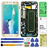Display Touch Screen (AMOLED) Digitizer Assembly with Frame for Samsung Galaxy S6 Edge Plus (5.7 inch) G928A (AT &T) (for Mobile Phone Repair Part Replacement) (Repair Tool Kits) (Gold Platinum)