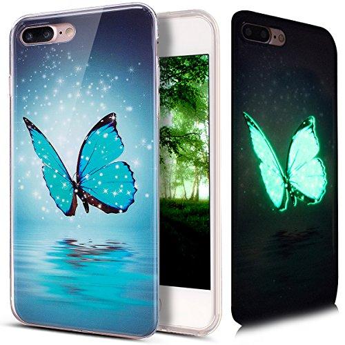 Kompatibel mit iPhone 8 Plus Hülle,iPhone 7 Plus Hülle,Bunte Gemalt [Leuchtend Luminous] Handyhülle TPU Silikon Hülle Handy Hülle Case Tasche Schutzhülle für iPhone 8 Plus / 7 Plus,Blau Schmetterling