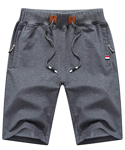 Tyhengta Mens Shorts Casual Drawstring Elastic Waist Workout Shorts with Zipper Pockets Darkgray 32