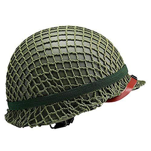 BLCVC US M1 Military Steel Helm, perfekte WW2 US Army M1 Green Helm Replik mit Net/Canvas Kinnriemen DIY Malerei