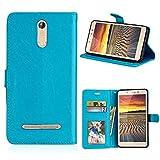 ShuiSu Funda con tapa para Leagoo M8 / M8 Pro, piel sintética de alta calidad, cierre magnético, con función atril, bolsillos para tarjetas, color azul