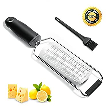 Parmesan Cheese Grater, Upgrade Lemon Zester Tool with Stainless Steel Blade and Cleaning Brush for Chocolate, Coconut, Citrus, Potato, Ginger and Fine Grate Spices, Ergonomic Handle, Black