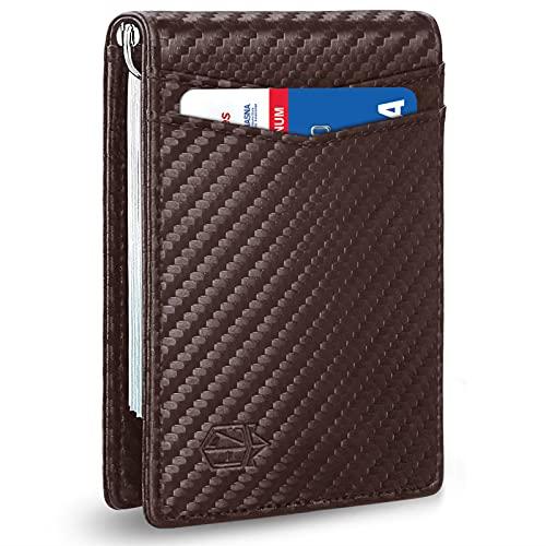 Zitahli Billetera delgada para hombre RFID Clip de dinero Cartera para hombre Bolsillo frontal minimalista, marrón (Carbon Brown), Small