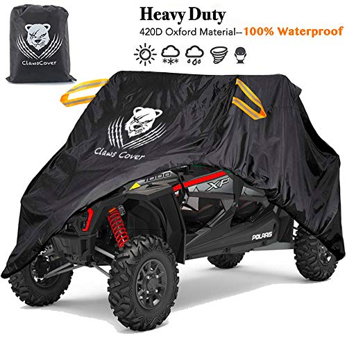 ClawsCover 4 wheeler cover is excellent ATV covers used to protect the ATVs from Sun,Snow , rain etc. ClawsCover UTV Covers Waterproof All Weather 159 Inch XXL 4-6 Passengers Heavy Duty 420D Oxford Cloth ATV Side by Side UTV Accessories for Polaris RZR Ranger Yamaha Can-Am Defender Kawasaki Mahindra