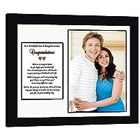 結婚式の贈り物、息子と娘、詩カードフレーム、写真を追加。