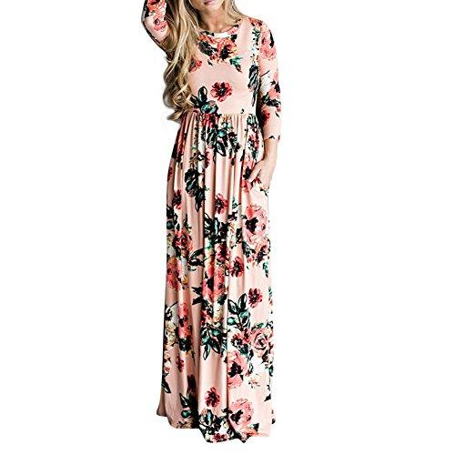 Lover-Beauty Damen Kleid Vintage Blumendruck Lang/Kurzarm Maxikleid,rosa,s