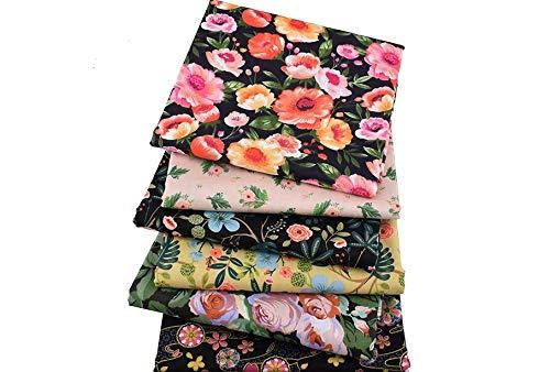 6 Telas florales vintage para cojines, costura, colchas, toallas, banderines, caravanas, guirnaldas, manualidades, patchwork, costura 40 x 50 cm de CHIPYHOME