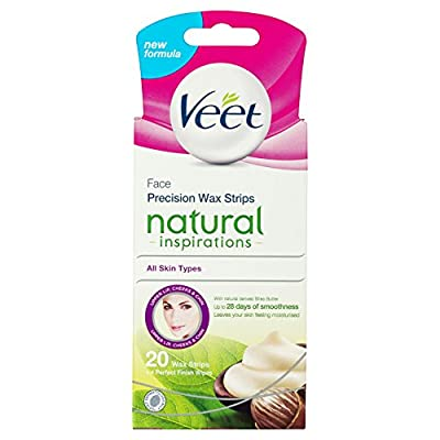 Veet Face Cold Wax Strips Naturals for Normal Skin, 10 Double Sided Strips, Pack of 20