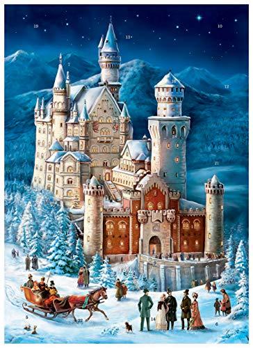 Richard Sellmer Verlag Papier Adventskalender / Weihnachtskalender mit Bildern und Glimmer für Kinder und Erwachsene Schloß Neuschwanstein