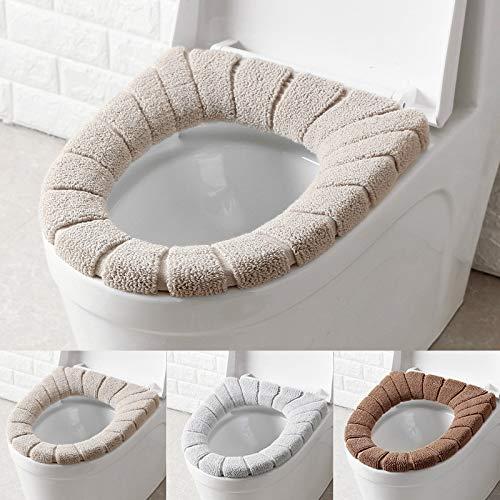 3PCS Asientos de inodoro, funda de asiento de inodoro cojín de baño suave y cálido lavable 3 piezas