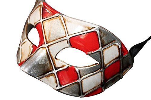 Das Gute Leben Harlekin Rot Silber und Antik Elfenbein Venezianische Maskerade Karneval Partei Augenmaske Maske