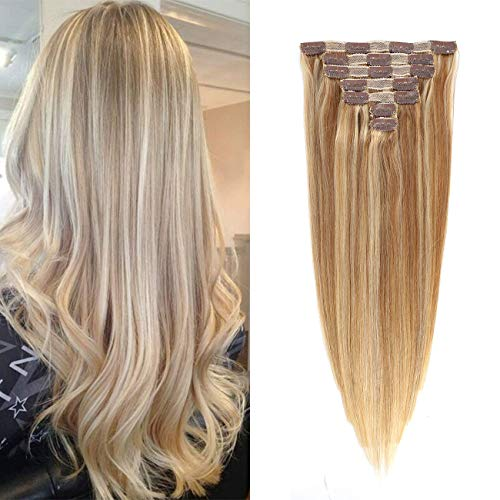 Remy Clip in Hair Extensions for Full Head Double Wefts 7 Pieces with 16 Clips Ash Blonde Mix Medium Blonde 100% No Tangling No Shedding Human Hair 18 inch 120g #16/22