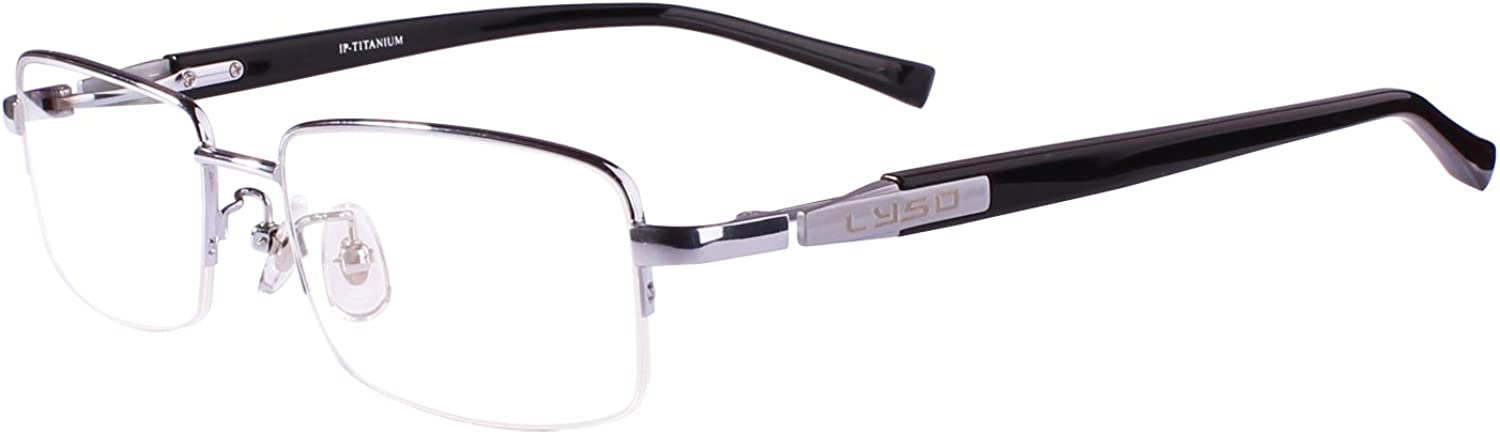 Agstum Titanium Half Rim Glasses Frame Prescription 5518145 (Silver)
