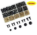 Aucheer - Juego de ojos de seguridad de plástico, 200 unidades, 6 – 12 mm, sólidos, color negro, con...