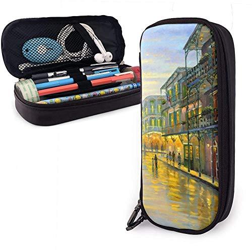 Schreibwaren-Tasche, stilvolle große Kapazität, Premium-PU-Leder-Aufbewahrungstasche, Stifte-Etui, modische Washington DC Flagge, Stifttasche, Vintage kleine Stadt Ölgemälde