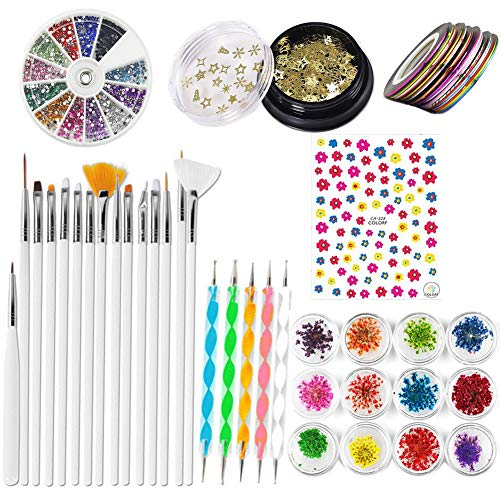 45 Stück Nail art Kit,12 Boxen Nagel Getrocknete Blume,5 Stück 2 Wege Punktierung Stift,15 Malerei Polnisch Pinsel Kit|1 Boxen Bunte Nagel Strass,10 Streifenband, 1 Boxen Mixed DIY 3D Nail Decoration