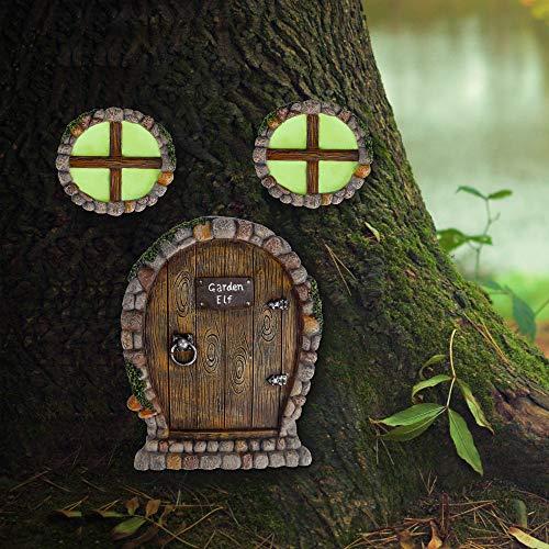 Juegoal Miniature Fairy Gnome Home Window and Door for Trees Decoration, Stone Shape Glow in Dark Fairies Sleeping Door and Windows, Yard Art Garden Noctilucence Sculpture, Lawn Ornament Decor