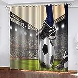 Cortinas Opacas Modernas Salón Arte de fútbol creativo Tamaño total:46' wide...
