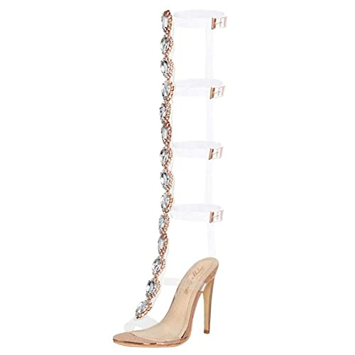 2651542b5fa9 onlymaker Womens Ankle Strap Buckle Cutout Gem Clear Stiletto High Heels  Gladiator Transparent Strip Sandals with