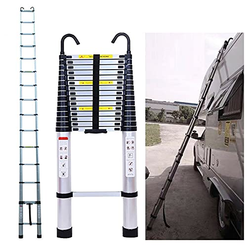 20.34 ft Extension Ladder Aluminum Telescopic Ladder 6.2M with Detachable Hook Multi-Purpose Climb Extendable Step Heavy Duty 330lbs Max Capacity for Home Kitchen Clean