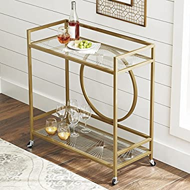 Better Homes and Gardens Nola Bar Cart, Gold Finish