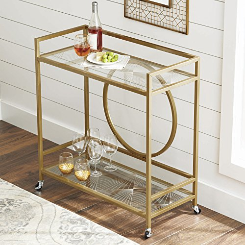 Better Homes and Gardens Nola Bar Cart, Gold Finish (Gold, 1)