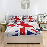 LCGGDB Union Jack Full Size Bed Fitted Sheet Set,Alliance UK and USA Deep Pockets Fitted Sheet with 2 Pillowcase,Print Fitted Sheet Set for Kids & Adults Bedding