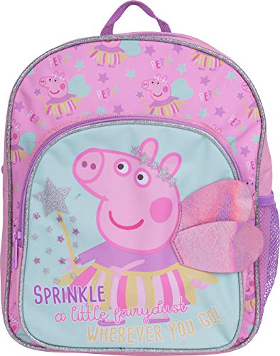 Peppa Pig Kids Backpack, Girls Peppa Pig 3D Wings School Backpack With Glitter
