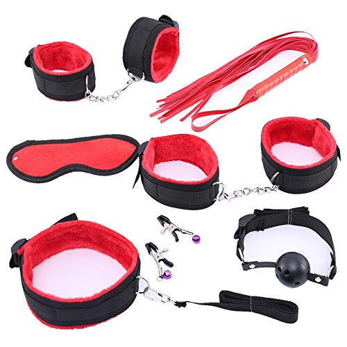 QPLNTCQ Manchetten tepelklemmen Whip Gag Bdsm Sex Bondage Set Sex Toys Dames spelletjes for volwassenen Sexy Lingerie (Color : Red 7 pcs, Size : Free)