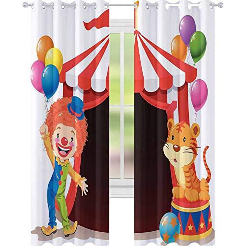 YUAZHOQI Cortina de ventana drapeada Payaso y tigre frente al circo Carpa Decorativa Cortinas para Salón 132 x 160 cm