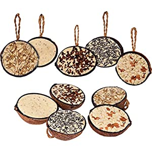 dobar 10Filled Coconuts 5Varieties (Hanging Bird Feeder–All Year Round Fat Food Wild Bird Food–Wild Bird Single Pack 1x 2Kg